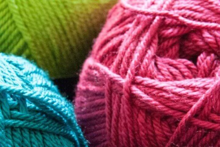 Balls of colorful yarn